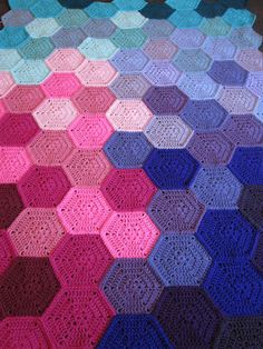 #3 Pink Purple and Aqua Crochet Hexagon Blanket - Pattern By BabyLove Brand.net  Geometric lace <3  Just waiting for the edging.