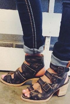 A distressed leather sandal with thick straps to add to your boho inspired style.
