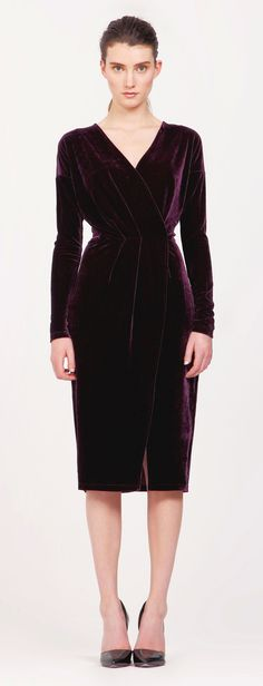 Velvet wrap dress with drop shoulders in dark berry. Sumptuously sophisticated, this velvet wrap dress is designed with long sleeves and drop shoulders, with flattering waist pleats and a side leg opening. Wear with stiletto heels to complete the look. http://www.paisie.com/collections/dresses/products/velvet-wrap-dress-with-drop-shoulders-in-dark-berry