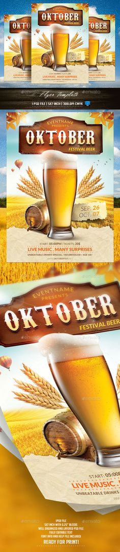 Oktoberfest Flyer Template - Events Flyers Download here: https://graphicriver.net/item/oktoberfest-flyer-template/12670888?ref=carlyalexa