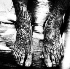 Beautiful Henna Patterned Foot Tattoo For Men