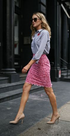 Click for outfit details! Pink and red lace pencil skirt, blue and white striped embroidered button down shirt with nude pumps + metal bridge sunglasses {DVF diane von furstenberg, equipment, marc jacobs, work to wear, professional office style, nordstrom anniversary sale 2017}
