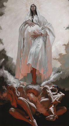 'La Visione di San Giovanni a Patmos (The Vision of St. John on Patmos) - Giovanni Gasparro Art Inspo, Kunst Inspo, Painting Inspiration, Catholic Art, Religious Art, Art And Illustration, Fantasy Kunst, Fantasy Art, Art Noir