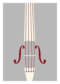 Cello poster digital music print cello by bearandrobotstudio