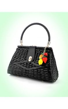 perfect for spring! Wicker Purse in Black with Fruit Charm | Pinup Girl Clothing