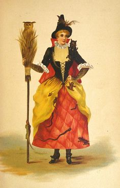 vintage postcard illustration folk witch costume halloween