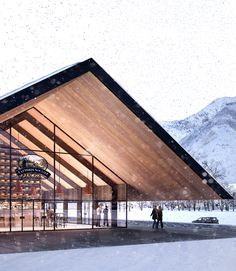 Gallery of Piuarch Wins Competition To Build a New Cooperative Dairy In the Alps 5 is part of architecture - Image 5 of 7 from gallery of Piuarch Wins Competition To Build a New Cooperative Dairy In the Alps Courtesy of Piuarch Timber Architecture, Landscape Architecture, Architecture Design, Gta Carros, Roof Design, House Design, Win Competitions, Gable Roof, Commercial Architecture