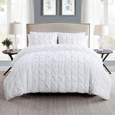 ***discontinued*** Vcny Home Maya Pinch Pleat Bedding Duvet Cover Set with Shams, Multiple Colors Available, White King Duvet Cover Sets, White Duvet Covers, King Comforter Sets, Bed Duvet Covers, Duvet Sets, Modern Duvet Covers, Pillow Shams, White Duvet Bedding, Bedroom Decor