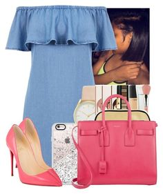"""""""Untitled #2966"""" by alisha-caprise ❤ liked on Polyvore featuring Warehouse, Casetify, Nine West, Christian Louboutin and Yves Saint Laurent"""