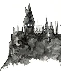 Hogwarts Painting Print from Original Watercolor Painting