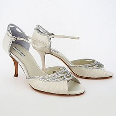 Benjamin Adams Wedding Shoes.  Lawrence, a fabulous wedding shoe with vintage appeal. Pleats at the toe & delicate crystal trim that repeats at the heel.