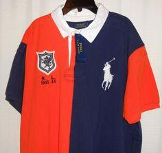POLO RALPH LAUREN Polo Men Size XXL Navy Blue & Orange BIG PONY LOGO Custom Fit #PoloRalphLauren #PoloRugby