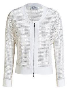 Hermosa chaqueta con transparencias color blanca de Joseph Ribkoff Luce elegante y fresca a la vez.