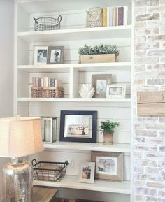 Neutral bookcase styling.