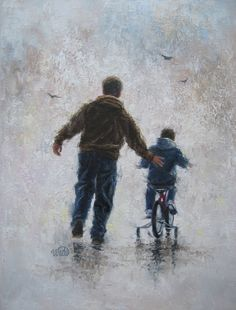 Father and Son Original Painting 14X18 dad and son bike ride boy paintings, boys room wall art, gift for Dad, first bike ride, Vickie Wade