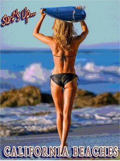 California Beach Beaches Surf's Up United States Travel Advertisement Poster