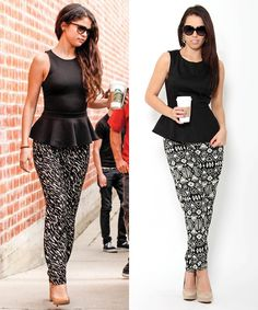 Pair printed harem pants with a #peplum top! Repin if you would wear this #outfit. #selenagomez