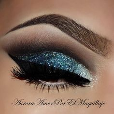 Blue glitter eye makeup