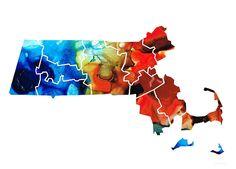 #massachuseets #statemaps Massachusetts - Map Counties By Sharon Cummings
