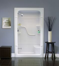 Madison 48 Inch 1 Piece Acrylic Shower Stall With Seat Walk In Shower Units 60 Fiberglass  Tub And