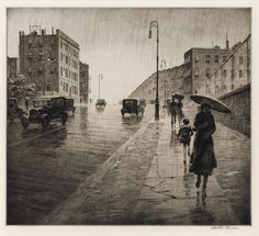MARTIN LEWIS  Rainy Day Queens.   Drypoint, 1931