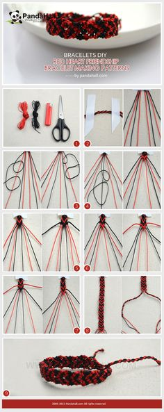 In the bracelets DIY project, we present you a fine way about red heart friendship bracelet making pattern; very simple and cute for lovely girls!