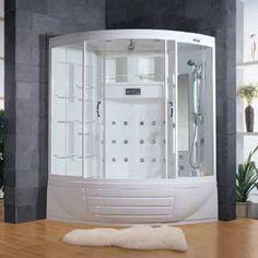 "Check out the Ariel Bath ZA216 AmeriSteam 56""W Steam Shower Enclosure in White priced at $3,790.50 at Homeclick.com."