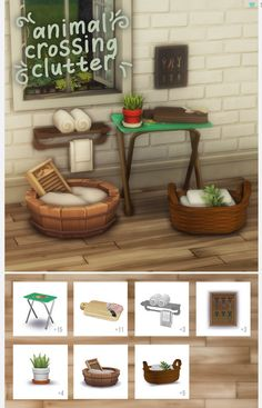 """animal crossing inspired clutter""""i've been playing new horizons and i was inspired to recreate some of my favourite items for the sims """" info: """"- 6 clutter/deco objects + 1 end table - comes in. Animal Crossing Wild World, Animal Crossing Guide, Animal Crossing Pocket Camp, Maxis, Muebles Sims 4 Cc, Sims 4 Collections, Casas The Sims 4, Sims House Design, Sims 4 Cc Furniture"""