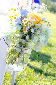 wedding flowers yellow, white, & purple in mason jars - king family vineyard wedding - elizabeth larson photography