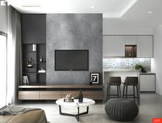 Designed & Visualized by EKE Team - Green Valley. Designed & Visualized by EKE Team Living Room Tv Unit Designs, Small Living Room Design, Home Room Design, Home Interior Design, Apartment Interior, Living Room Interior, Home Living Room, Living Room Decor, Apartment Living
