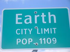 Earth City Limit Sign (Earth, Texas) by courthouselover, via Flickr