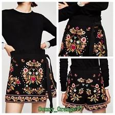 New Ladies Boho Floral Embroidery Shorts Culottes Lace Up Mini