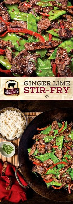 Certified Angus Beef®️️️️️ brand Ginger Lime Stir-fry is a SIMPLE, tasty recipe! The best flat iron, ranch or sirloin steak is cooked with snow peas and bell peppers in a DELICIOUS and easy to make sauce blend. The lime zest makes this EASY recipe really pop! #bestangusbeef #certifiedangusbeef #beefrecipe #easyrecipes #stirfry