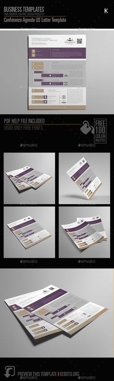 Conference Agenda A Format  A Adobe Indesign And Template