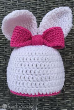 Bunny Beanie with Ears Crochet Pattern - perfect for your little one!