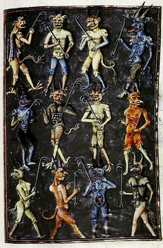 Twelve Devils with Forks. French c. 1450-70. bodl_Douce134 by tony harrison, via Flickr