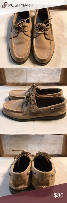 Sperry Top sider boat shoes Leather Sperry boat shoes. Worn 1 time, otherwise in brand new condition without tags/box. No major scuffs or scratches, soles are like new. They are a youth size 5.5, but will fit a women's shoes size 7-7.5. Sperry Top-Sider Shoes Flats & Loafers
