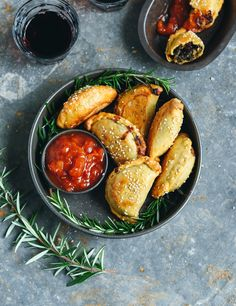 Mini spinach pies with rosemary, lemon, pine nuts & feta
