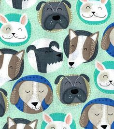Novelty Cotton Fabric-Dog Faces