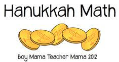 Teacher Mama: Hanukkah Math in the Classroom or Homeschool Preschool Lesson Plans, Preschool Games, Math Activities, Math Games, Fun Games, Hanukkah Crafts, Hannukah, Kwanzaa, Math Word Problems