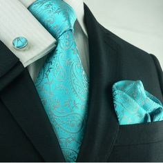 Wedding Suits Silk Necktie Set Color: Teal Length, Width Matching Cufflinks and Pocket Square - Silk Necktie Set Color: Teal Length, Width Matching Cufflinks and Pocket Square Sharp Dressed Man, Well Dressed Men, Fashion Moda, Mens Fashion, Fashion Outfits, Traje Casual, Paisley, Mens Silk Ties, Wedding Suits