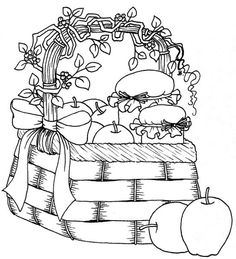 Free Printable What could be more country than a basket full of apples and fresh apple butter? Colouring Pages, Adult Coloring Pages, Coloring Sheets, Coloring Books, Embroidery Patterns, Hand Embroidery, Stitch Patterns, Apple Baskets, Copics