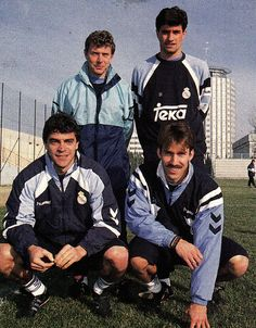 Butragueño, Michel, Sanchís y Martín Vázquez del Real Madrid 1992/93. First Football, Football Love, Football Players, 007 Casino Royale, Yesterday And Today, World Cup, Soccer, Baseball Cards, Club