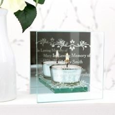 Personalised Sentiments Mirrored Glass Tea Light Holder - Just The Right Gift Glass Tea Light Holders, Tealight Candle Holders, In Loving Memory Gifts, Special Symbols, Burning Candle, Tea Lights, Personalized Gifts, Place Card Holders, Candles