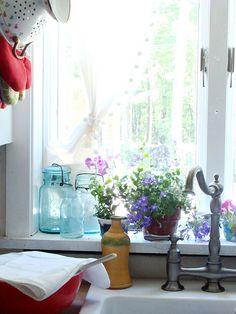 Blue Jars and Windowsill Flowers
