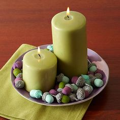 Teal and lavender may sing spring, but throw in some forest green and the mix takes on a fall tone. Silver also adds a festive pop. Make the project: Collect acorns from outside your home or purchase from a local crafts store. Remove caps from acorns and spray paint in a variety of colors; let dry. Mix and match caps and acorns (if needed, hot- glue the caps back on)./