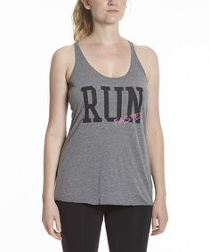 Loving this Gray Heather 'Run Faster' Racerback Tank - Women on #zulily! #zulilyfinds
