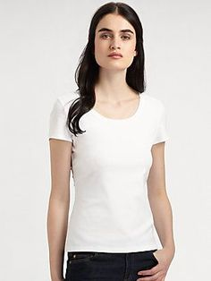 Lafayette 148 New York Scoopneck Tee A simple design with a classic silhouette offering dozens of sty