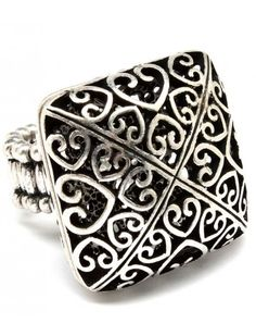 HEART PATTERNED BURNT SILVER SQUARE VINTAGE STYLE STRETCH RING - View All Rings - Rings - Jewellery