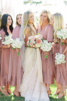 We're way head over heels for this sparkling @galialahav gown complete with a subtle blush hue and how these rose silk dresses were the perfect fit for a casual yet elevated backyard Utah celebration. 💗 Bouquets of single type blooms beautifully accentuated the bride's colorful arrangement. Round of applause to @kenzievictory for using her magical photography skills to capture this special moment. 👏   Photography: @kenzievictory #stylemepretty #bridesmaiddresses #blushwedding… Gold Wedding Theme, Purple Wedding, Wedding Colors, Wedding Ideas, Rustic Wedding, Wedding Decorations, Bohemian Wedding Inspiration, Bridesmaid Inspiration, Girls Bridesmaid Dresses
